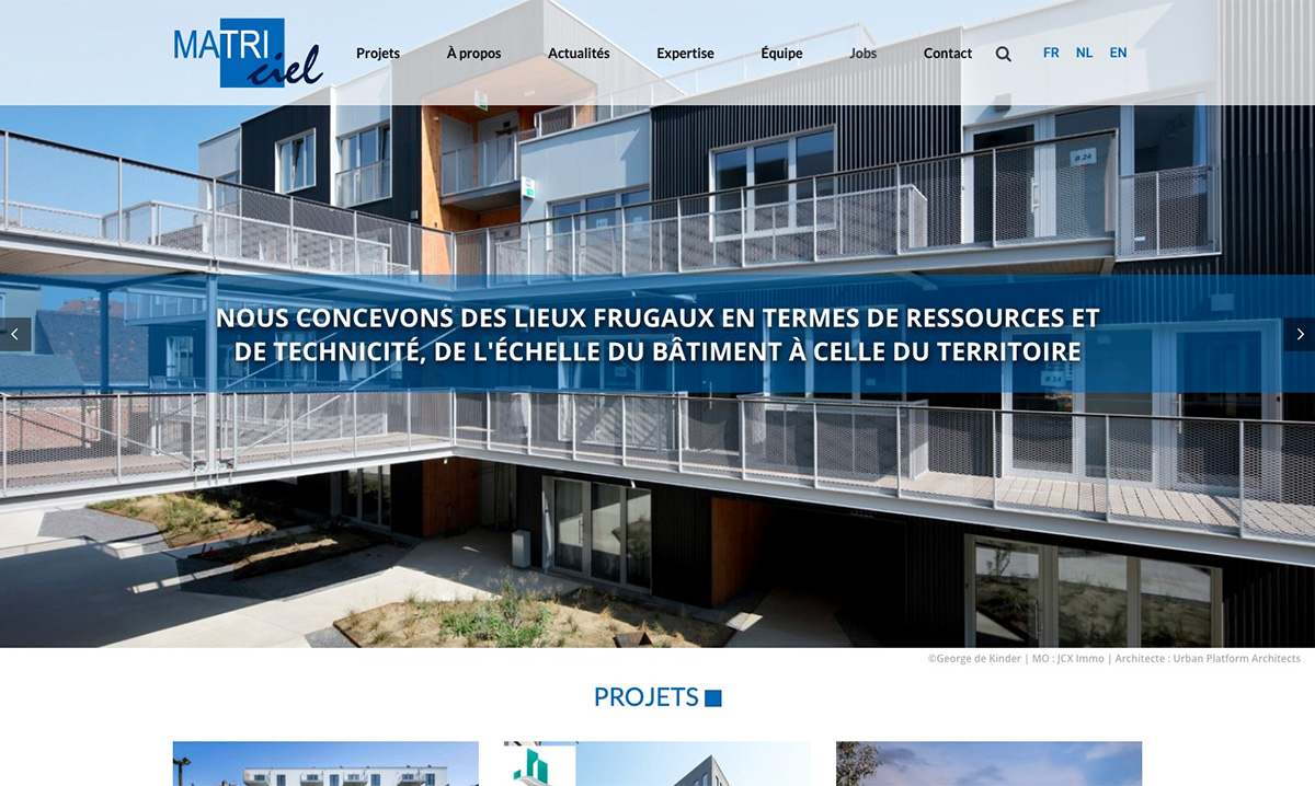 Site internet de Matriciel propulsé par l'agence web Poush