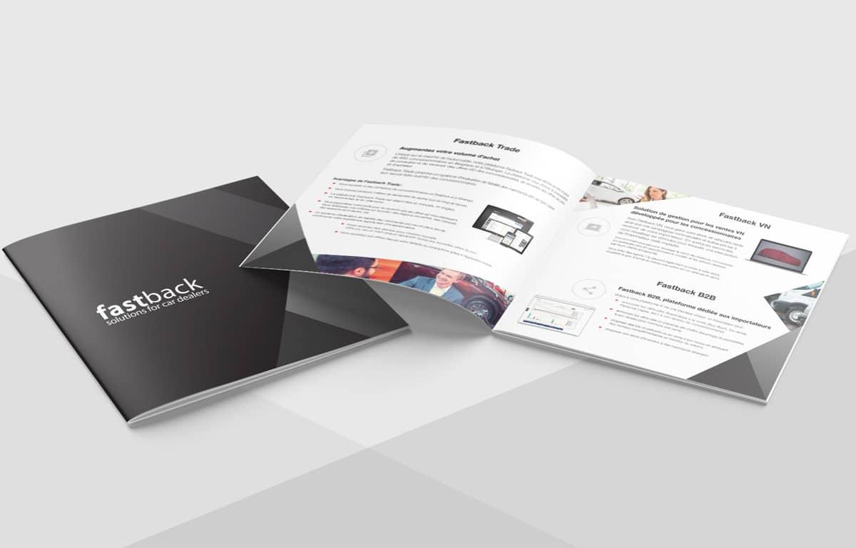 Brochure carrée pour Fastback, réalisation Poush Agence créative à Namur