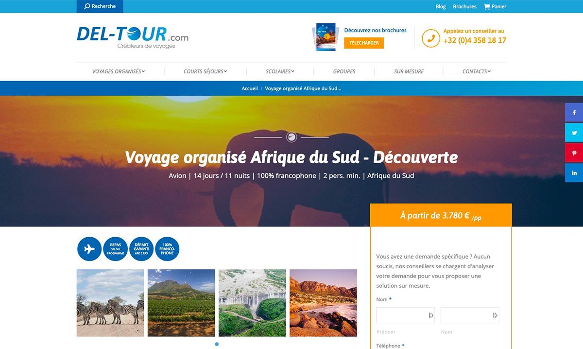 Site web des Voyages Del-Tour créé par l'agence web Poush
