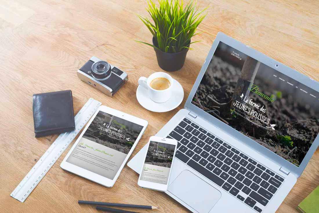 Création de l'identité visuelle et du site web de La Ferme des Jeunes Pousses