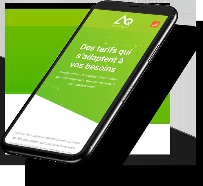 Site web mobile d'AQ Manager créé par l'agence webmarketing Poush