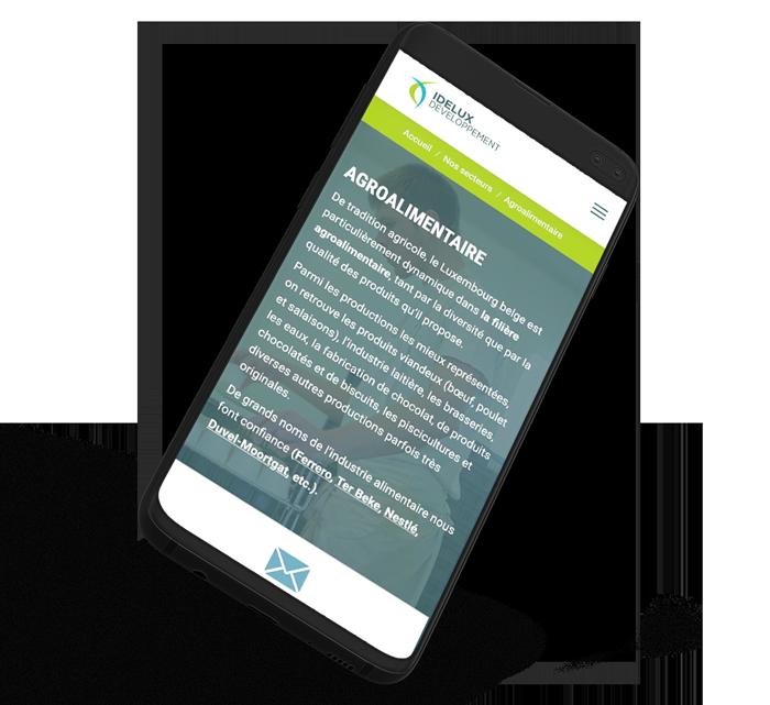 Site internet mobile d'Idelux propulsé par l'agence web Poush