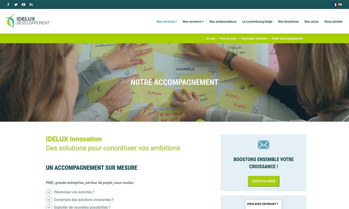 Site web d'Idelux réalisé par l'agence web Poush