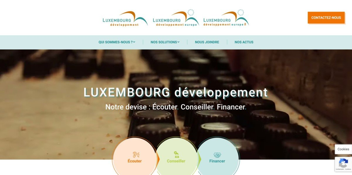 Page d'accueil du site web de Luxembourg Développement