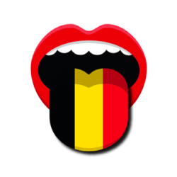 Icône de Sois-belge et tais-toi représentant une bouche tirant une langue aux couleurs du drapeau belge