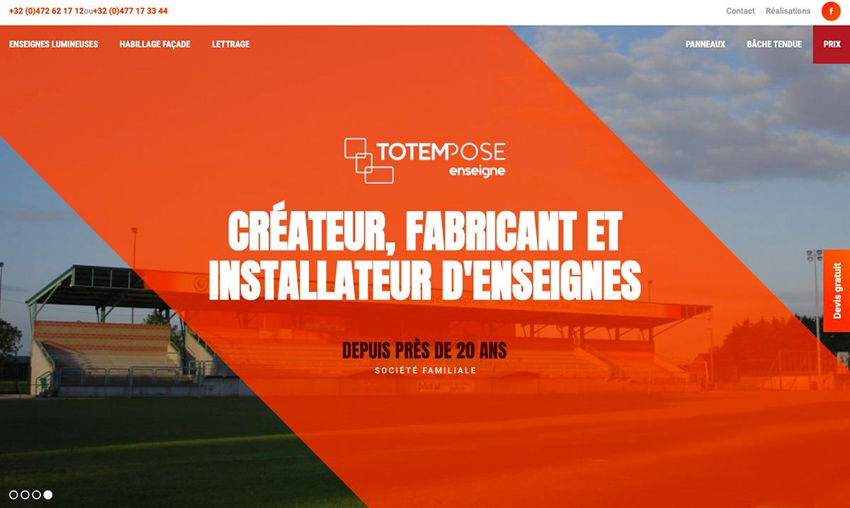 Site internet de Totempose réalisé sur mesure par l'agence web Poush