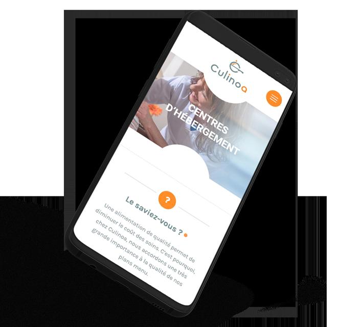 Site web mobile de Culinoa réalisé par l'agence digitale Poush