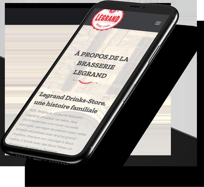 Site web mobile de Legrand Drinks Store réalisé par l'agence digitale Poush
