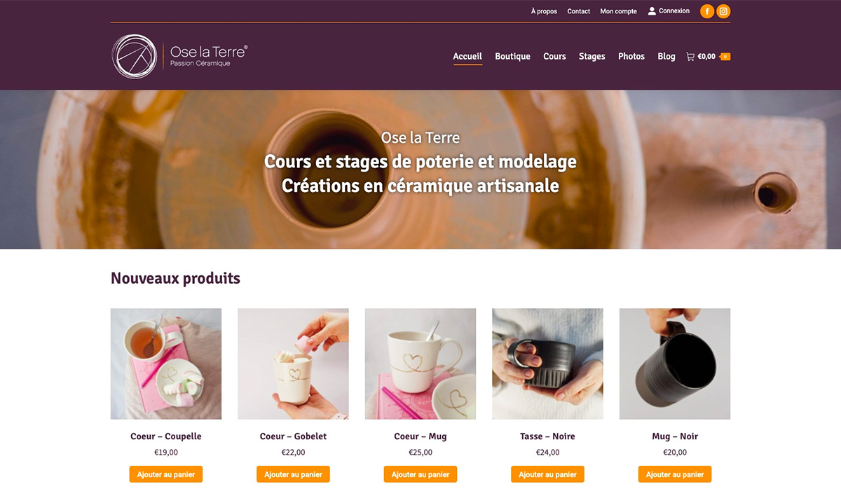 Site e-commerce de Ose la Terre créé par l'agence SEO Poush