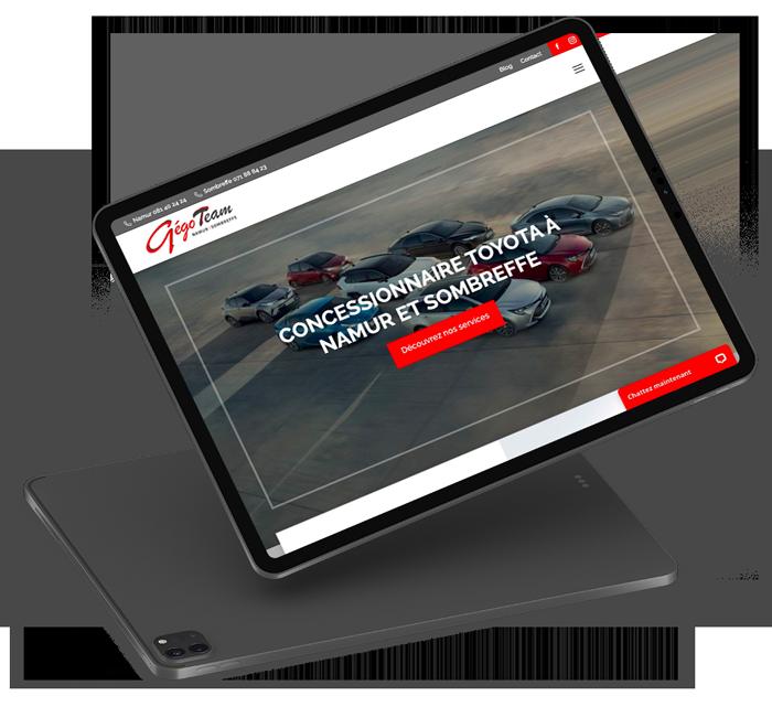 Site vitrine de Gégo Toyota Team réalisé par l'agence digitale Poush