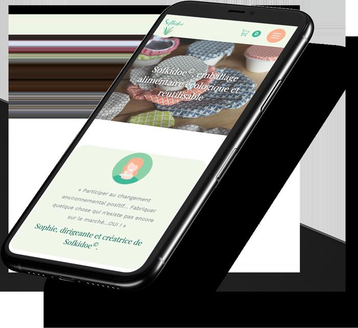 E-commerce mobile de Sofkidoe réalisé par l'agence web Poush