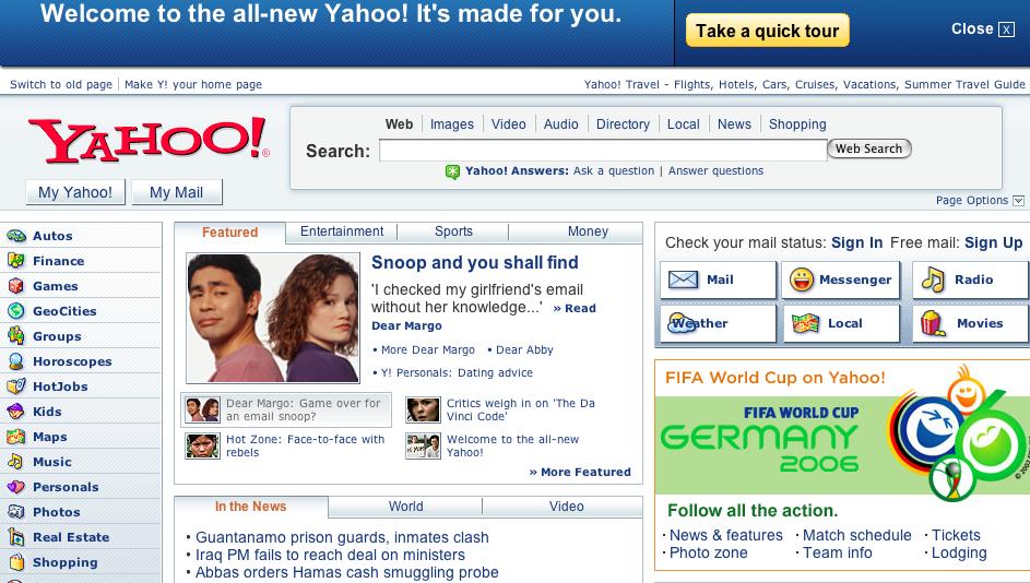design site internet yahoo
