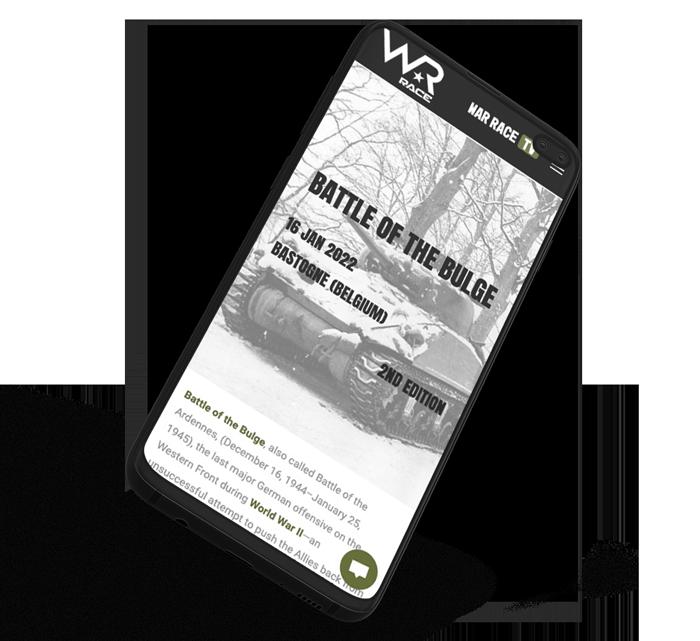 Site web mobile de War-Race créé par l'agence marketing digital Poush