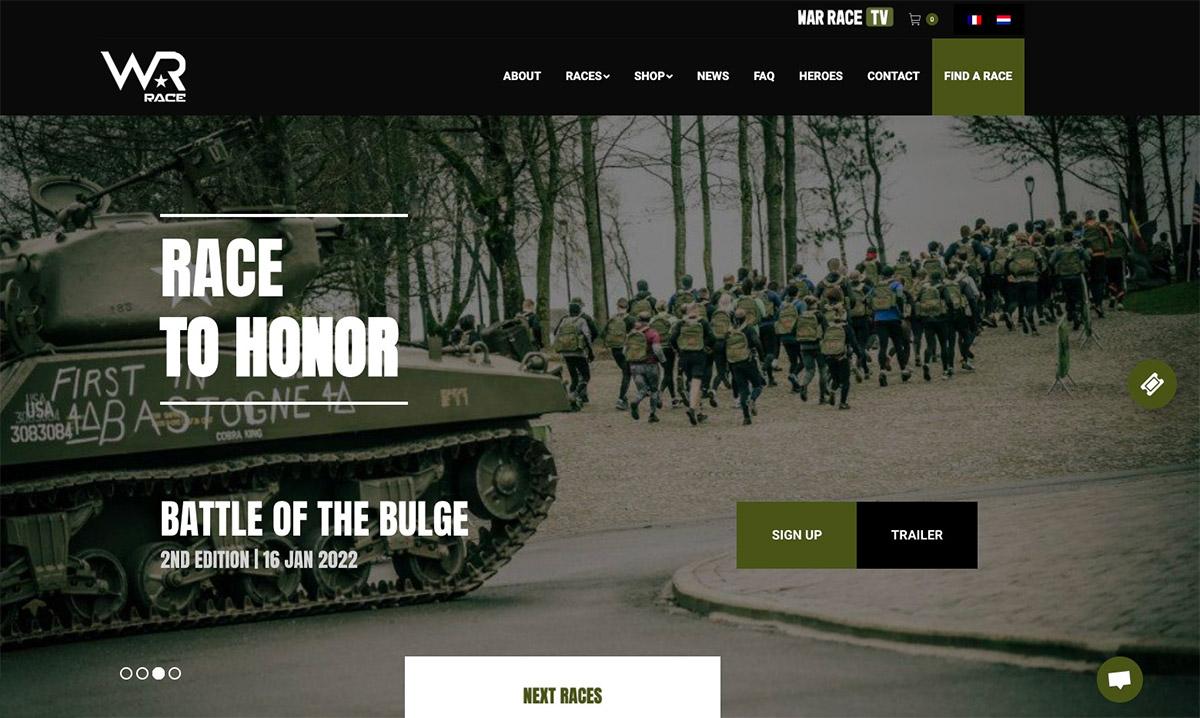 Site e-commerce de War-Race créé par l'agence web Poush
