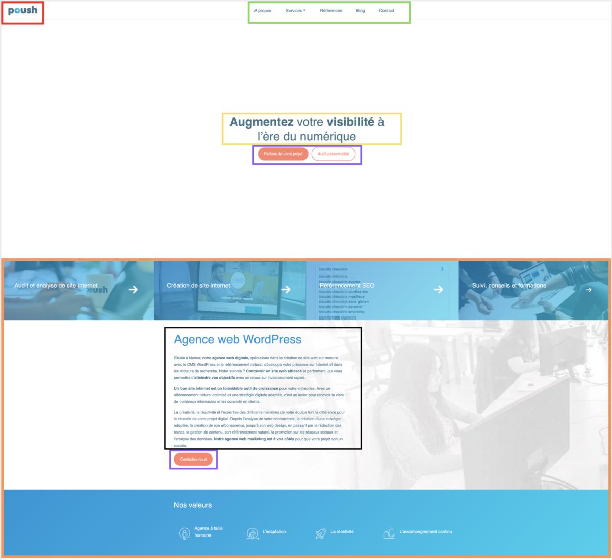 page d'accueil site internet Poush