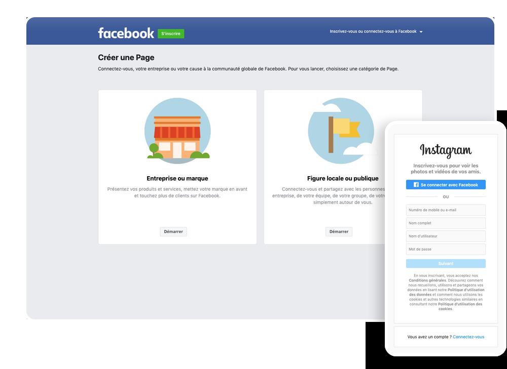 Ecran d'ordinateur ouvert sur Facebook pour créer sa Page Facebook pro et écran de mobile avec Instagram pour créer son compte