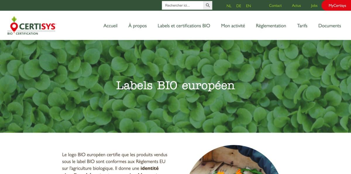 Visuel de la page label bio européen de Certisys