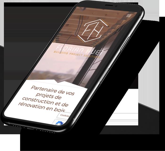 iPhone 10 noir qui montre le site web de Florian Huet